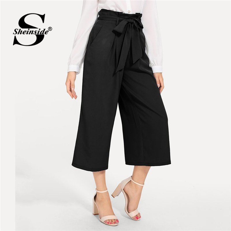 Sheinside Slant Pocket Belted Wide Leg   Pants     Capris   For Women Mid Waist Loose Trousers 2019 Spring Female Vintage Black   Pants