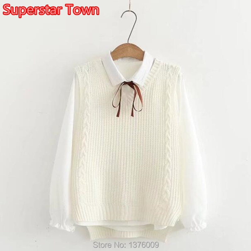 Harajuku Women Autumn Sweater Uniform Mori Girls Bowknot Preppy Style Student Knitted Vest And Blouse Set Lolita Cosplay Casual