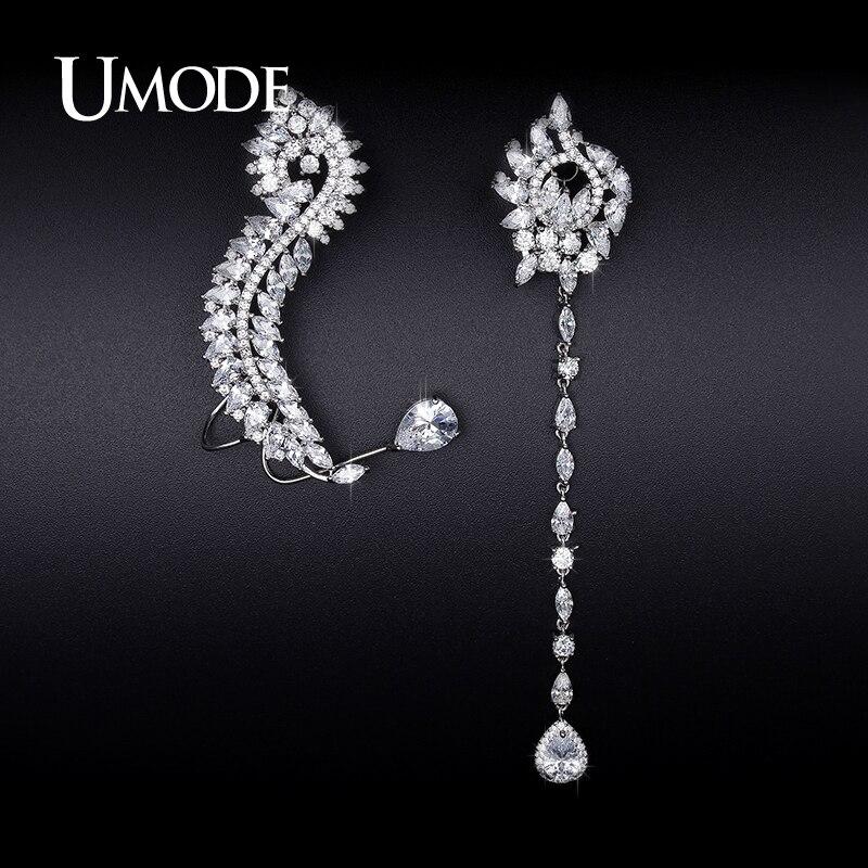 0b515b49 UMODE pendientes de Mismatch de lujo pendientes de oreja para mujeres  Zirconia Color oro blanco ...
