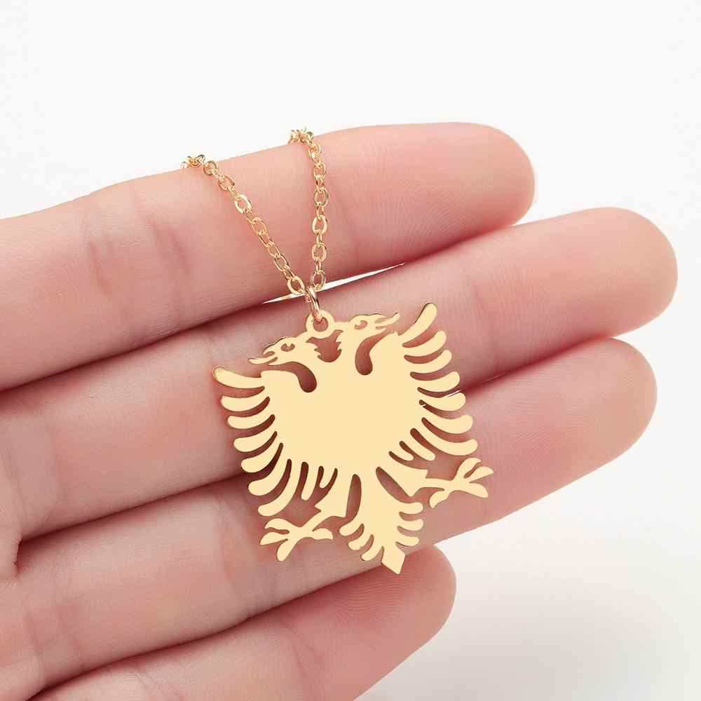 Todorova Albania Eagle Pendant Necklace Coat of Arms Double Headed Eagle Necklace Ethnic Stainless Steel Gifts for Women Men