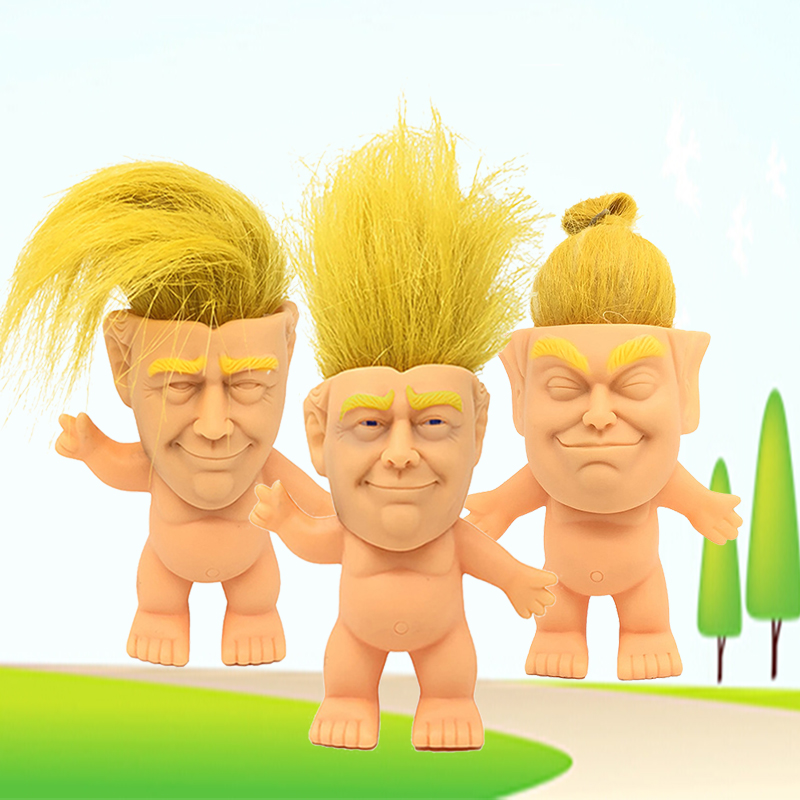 Donald Trump funny realistic face colorful America President toy troll doll US