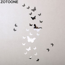 ZOTOONE 25Pcs 3D Wall Stickers Mirror Butterfly for Kids Rooms Decoration DIY Acrylic Home Decor A