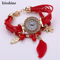Irisshine Y5896 mujeres reloj Weave Wrap Around Reloj de Pulsera de regalo de la señora de la muchacha de Plumas de Cristal Sintético de Moda Reloj de La Cadena Nuevo
