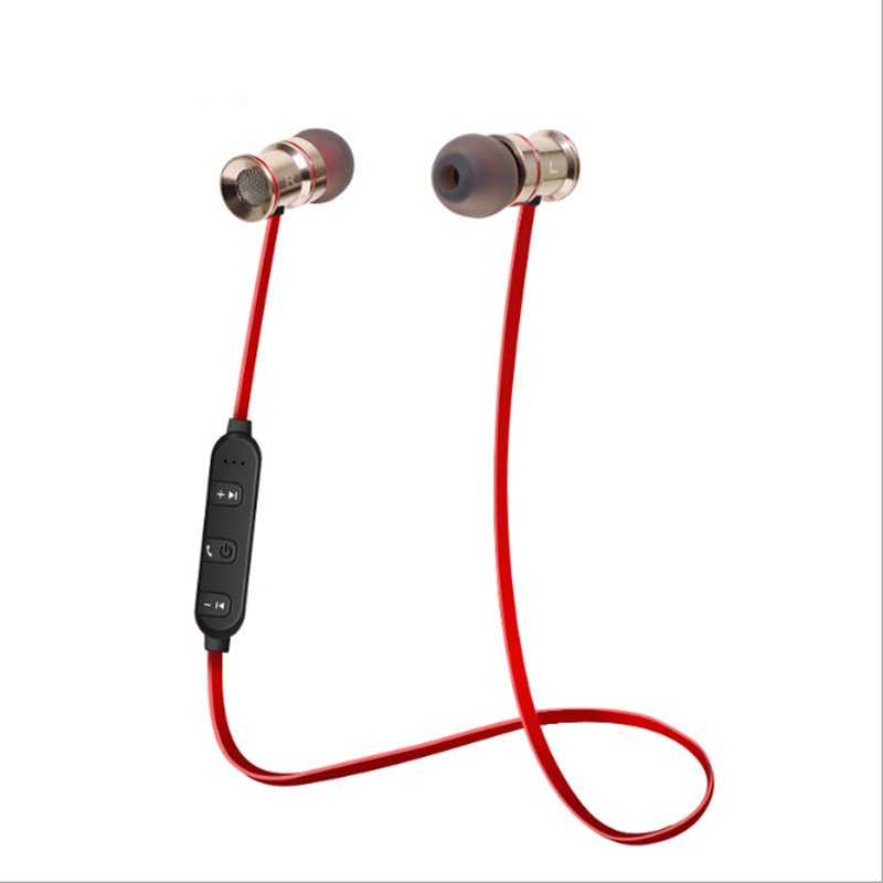 High Quality Wireless Bluetooth Earphone Headphones with Microphone Magnet Metal Heavy Bass Sports Sweatproof Anti-Noise Headset