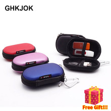Original Mini U Disk Storage Bag For Earphone, U Disk, Data Cable, Memory Cards Waterproof PU Small Oval Travel Pouch Case bag