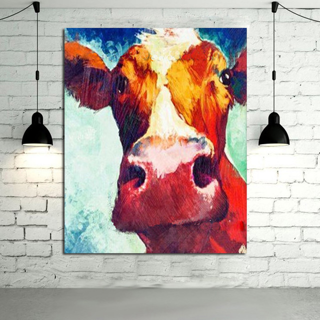 Awesome Large Oil Paintings Handmade Wall Painting Color Cow Picture On Canvas  Abstract Home Decor Animals Oil