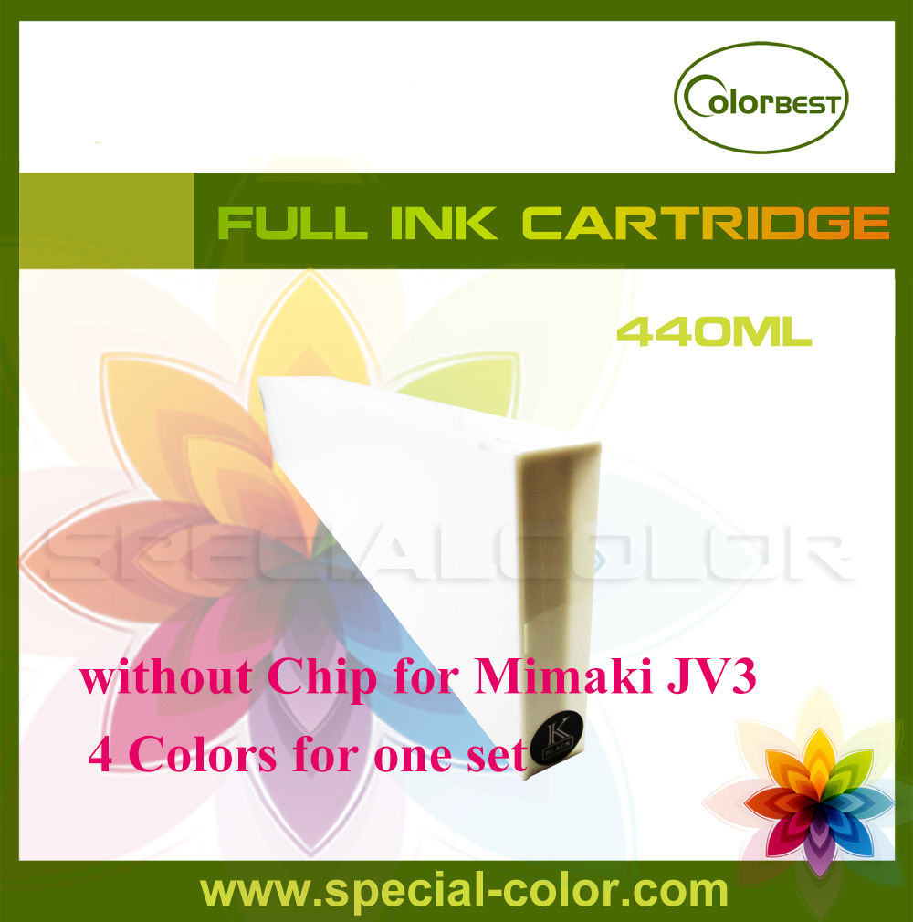 CMYK 4colors/set Ink cartridge without chip 440ml eco solvent for Mimaki JV3 4 colors set cmyk roland dx4 solvent printer full ink cartridge with chip