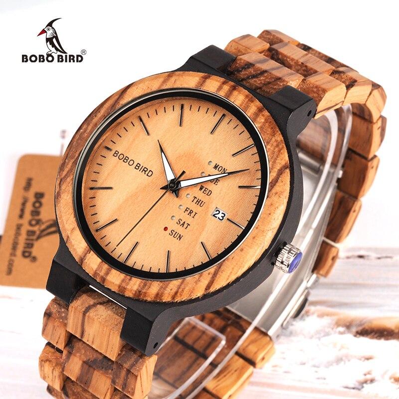 BOBO BIRD Nuevo Reloj de Madera para Hombres con Visualización de la Fecha y Semana Relojes de Cuarzo de Dos Tonos de Madera Envío Directo