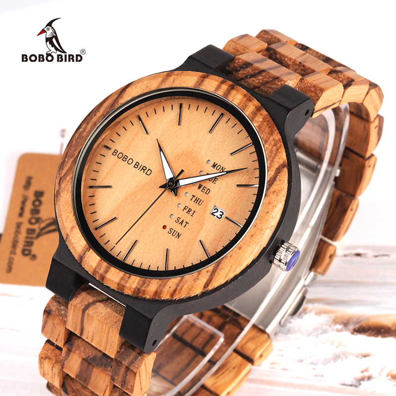 Relogio Masculino BOBO BIRD Wood Watch Mænd anerkek kol saati Uge Display Dato Quartz Watches Wooden Accept Logo Drop Shipping