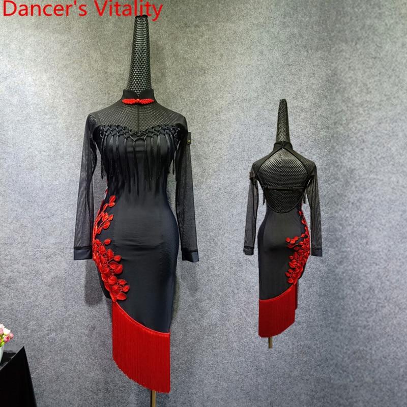 Adult Latin Dance Practice Costume Split Sheer Tassel Dress Backless Cheongsam Rumba Samba Tango Cha Cha Salsa Foxtrot Dance Set