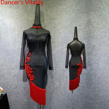 Erwachsene Latin Dance Praxis Kostüm Split Sheer Quaste Kleid Backless Cheongsam Rumba Samba Tango Cha Cha Salsa Foxtrot Dance Set
