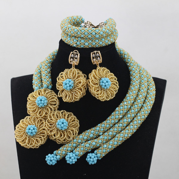 Fashion Sky Blue Crystal Wedding African Beads Jewelry Sets Indian Handmade Jewelry Bridemaid Jewelry Sets Free Shipping ANJ142 new sky blue fashion natural stone fashionable african beads jewelry sets jewelry for women free shipping jb123