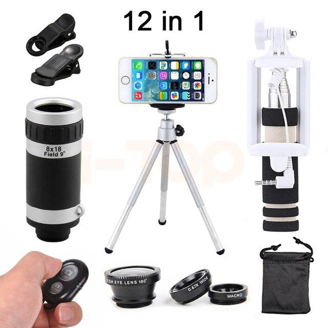 2017 12in1 8X Microscópio Lente Macro olho de Peixe Grande Angular Lentes  Zoom Telefoto Telescópio Tripé Clipes Para iPhone 8 7 6 s 5 4