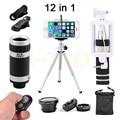 2017 12in1 Lente do Microscópio 8X Zoom Telefoto Macro olho de Peixe Grande Angular lentes do telescópio tripé clipes para iphone 7 6 5 4 s xiaomi