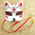 Japanese Style Upper Half Face Hand-Painted Fox Masks Kitsune 3 Eyes Cosplay Masquerade for Noh Party Halloween Carnival