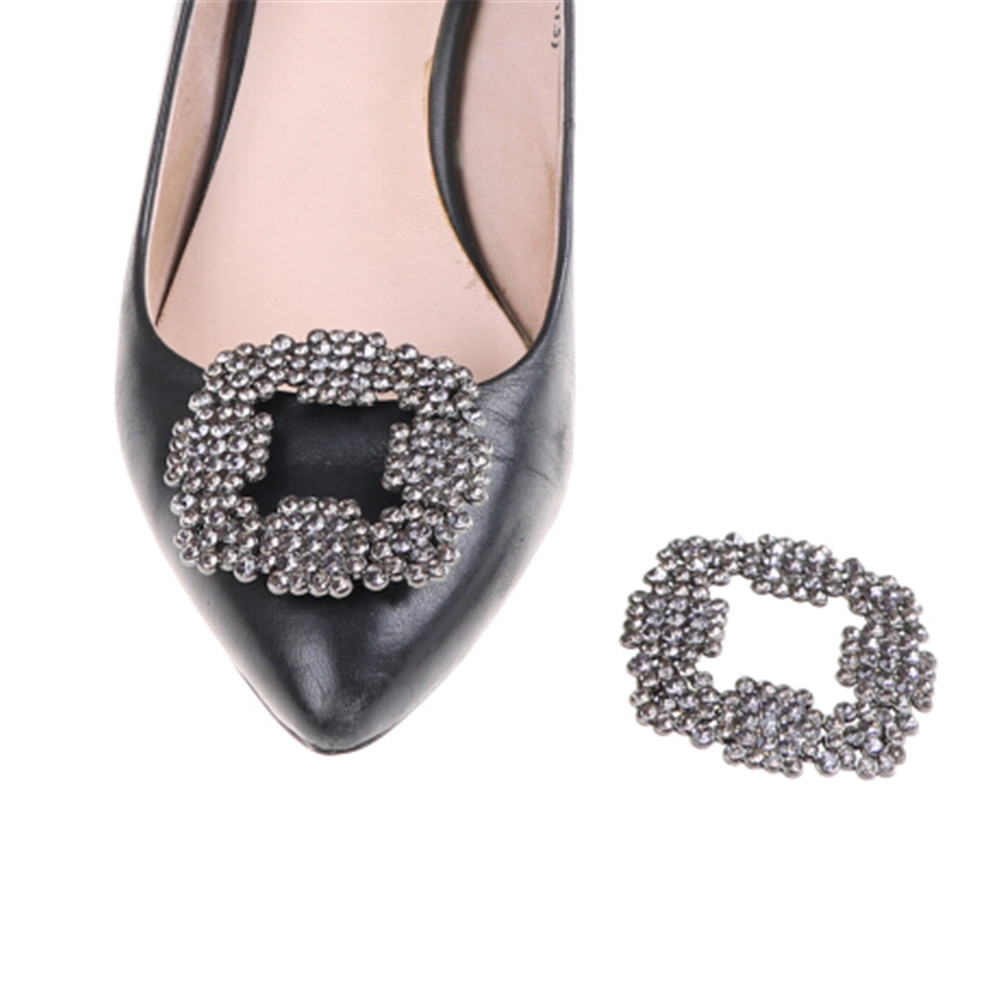 1 Piece Women Shoe Rhinestone Charm Metal Shoe Square Clamp Crystal Shoe Clip Decoration Bridal Shoes Rhinestone Accessories bsaid1 piece shoes flower rhinestones clip decoration buckle crystal pearl women decorative accessories insert fitting charm