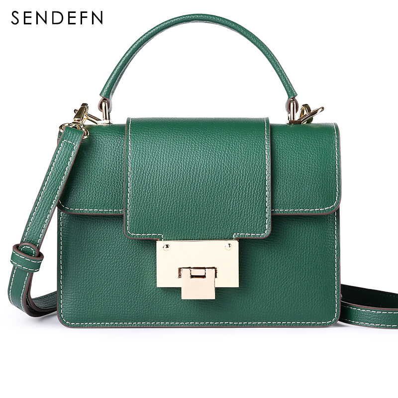 SENDEFN Luxury Lady Handbag Women Messenger Bags Quality Split Leather New Female Crossbody Bag For Purse/Phone(Green/Red/Black) 2017 new elegant handbag for women high quality split leather female tote bags stylish red black gray ladies messenger bag