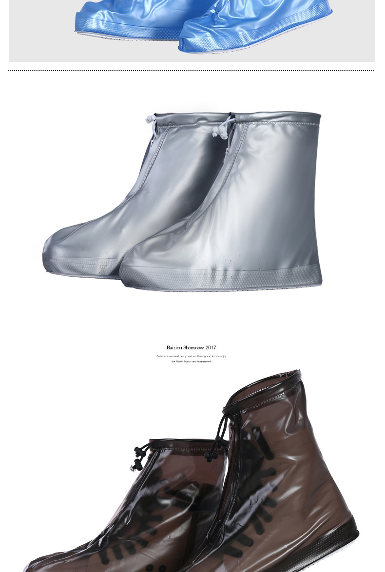 18 Newest Reusable Unisex Waterproof Protector Shoes Boot Cover Rain Shoe Covers High-Top Anti-Slip Shoe Cover 7