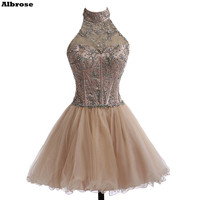 Crystal High Neck Short Prom Dresses Sparkly Ball Gown Prom Dress Short Tulle Dress Sexy Mini