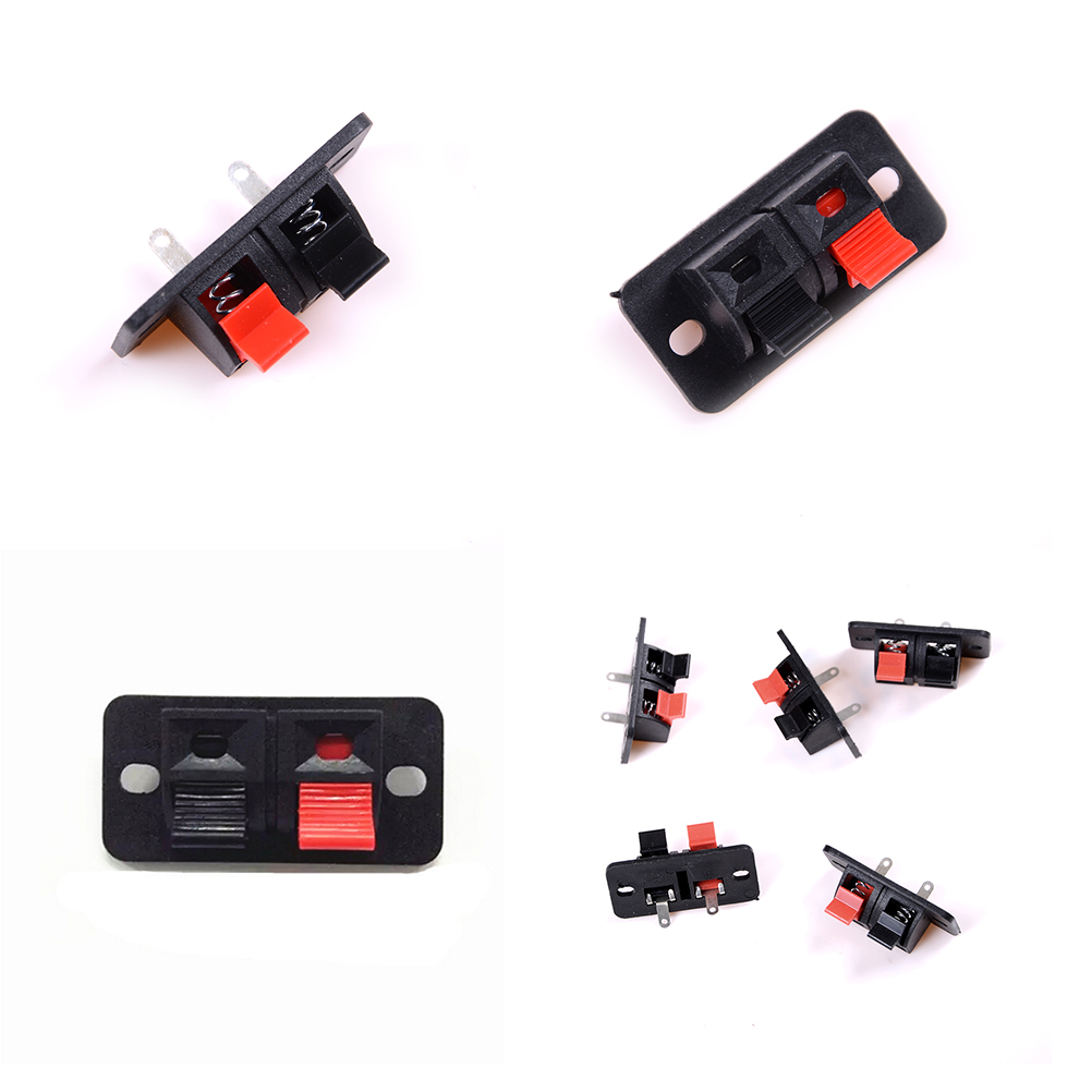 цена на 5 Pcs/lot 2 Positions Connector Terminal Push in Jack Spring Load Audio Speaker Terminals