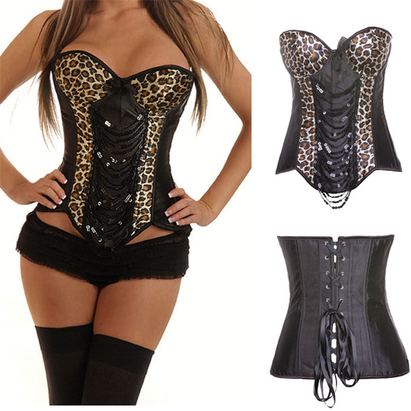 Sexy Black Fashion Women Leopard   Corsets   And   Bustiers     Corset   Sexy Boned Waist Trainer Steampunk   Corset   Top Overbust Latex Korset