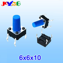 JOYING LIANG Blue 6*6*10MM Vertical Four-foot Touch Switch 4-foot Micro Key 6x6x10 Copper Foot