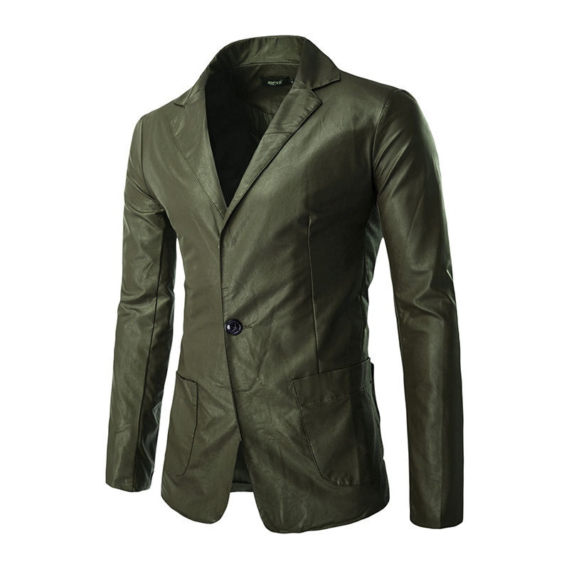 Army Green Men's Fashion Single Button PU Leather Casual Blazers New Male Slim Solid Business Formal Wear Suits Size 2XL