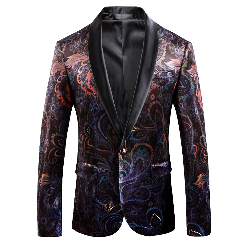 29 (1) 65Men\`s jackets are now popular new men\`s fashion slim printed jacket men\`s new business casual suit ball party dress
