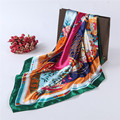 Марка шелковый шарф сатинировки женщин мода цветочные этнические китайцы узел весело шарфы лето 90 см площадь платок зеленый дамы повязка на голову