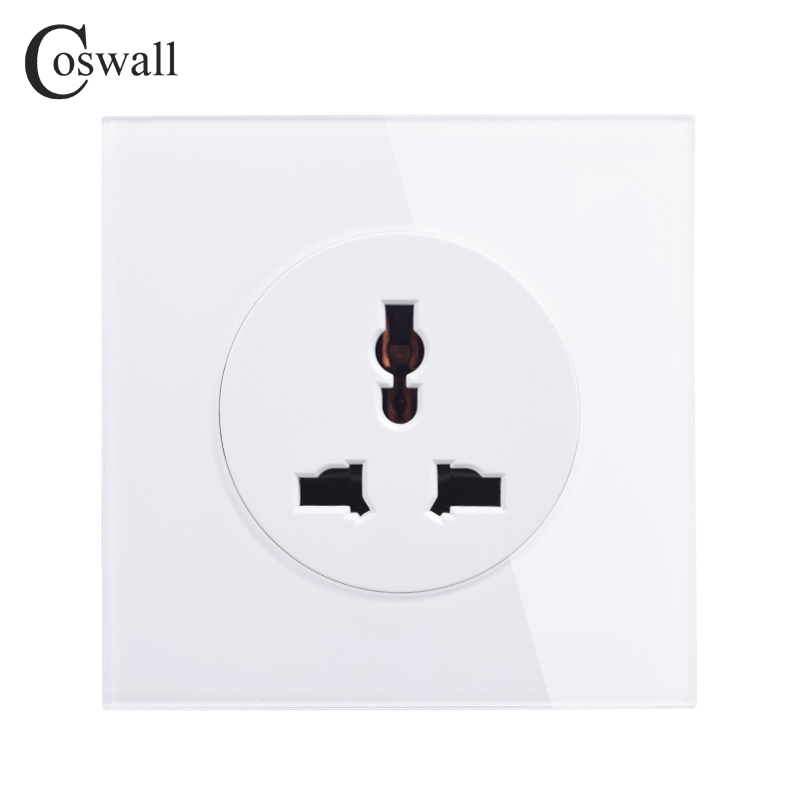 Coswall 2018 New Arrival Crystal Glass Panel 13A Universal Wall Power Socket Outlet Grounded With Child Protective Lock