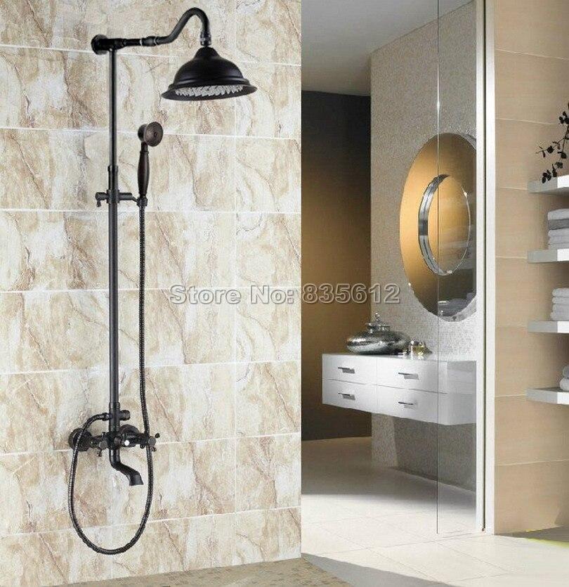 Black Oil Rubbed Bronze Wall Mount Bathroom Rain Shower Faucet Set with Handheld Shower & Dual Handle Tub Mixer Taps Wrs661