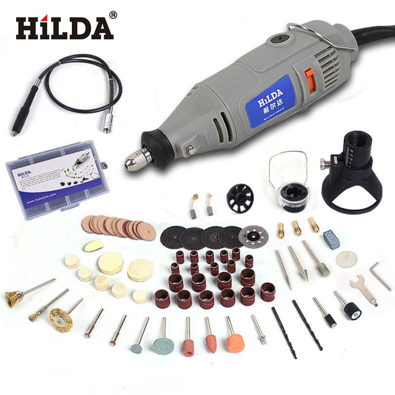 HILDA 220V 150W with 99pcs Accessories Electric Rotary Tool Variable Speed Mini Drill with Flexible Shaft Power Tools hilda 400w mini electric drill with 6 position variable speed dremel rotary tools with flexible shaft and 94pcs accessories
