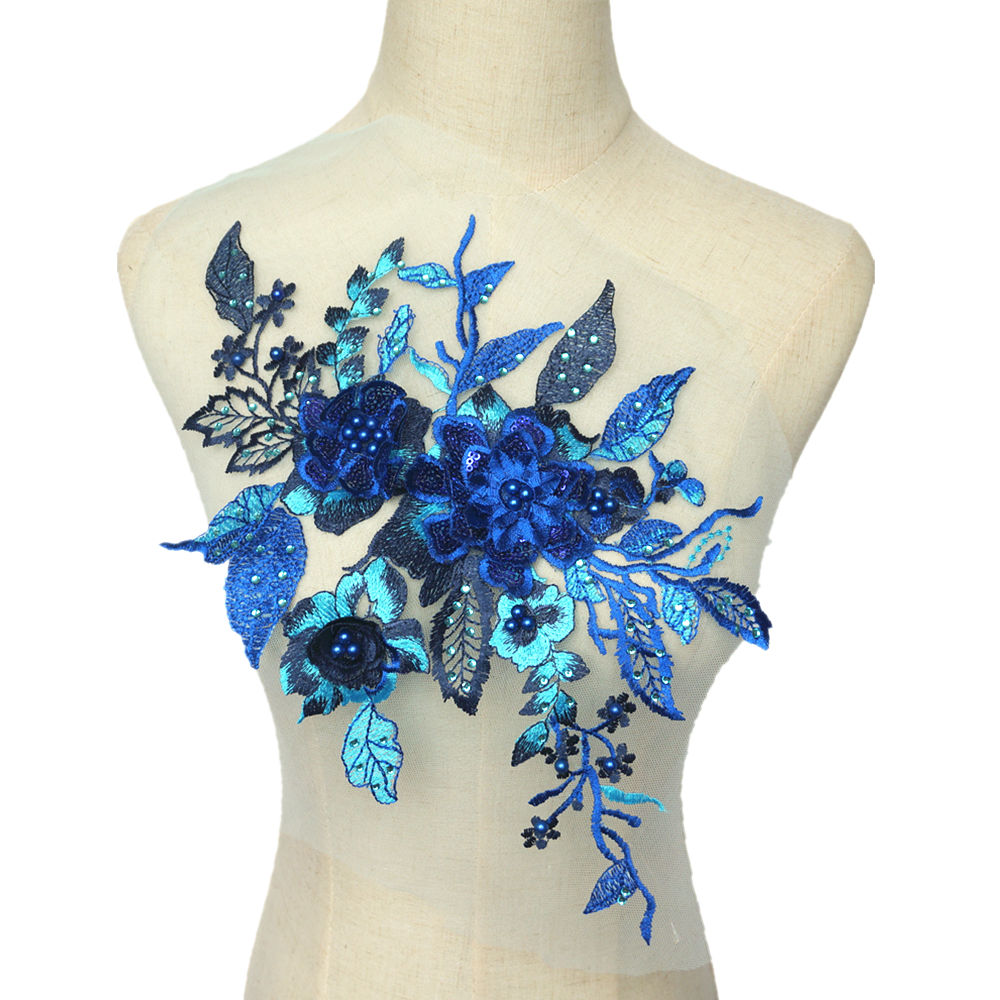Royal Blue Fabric 3D Flowers Roses Beads Rhinestone Sequins Appliques Lace Trims Embroidery Mesh Sew On Patches For Wedding DIY