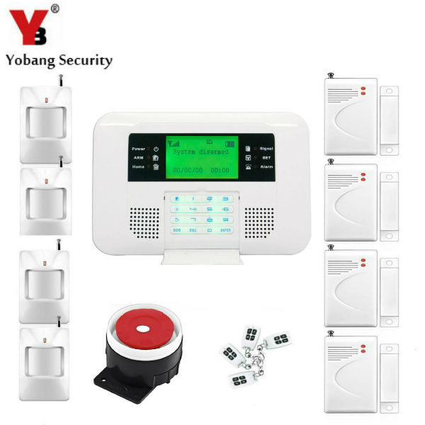 YobangSecurity Dual Network GSM PSTN Home Security Alarm System LCD Keyboard English Spanish Russian Voice Prompt Alarm Sensor yobangsecurity lcd screen keyboard gsm pstn dual network alarm system for home security wired siren pir detector door sensor