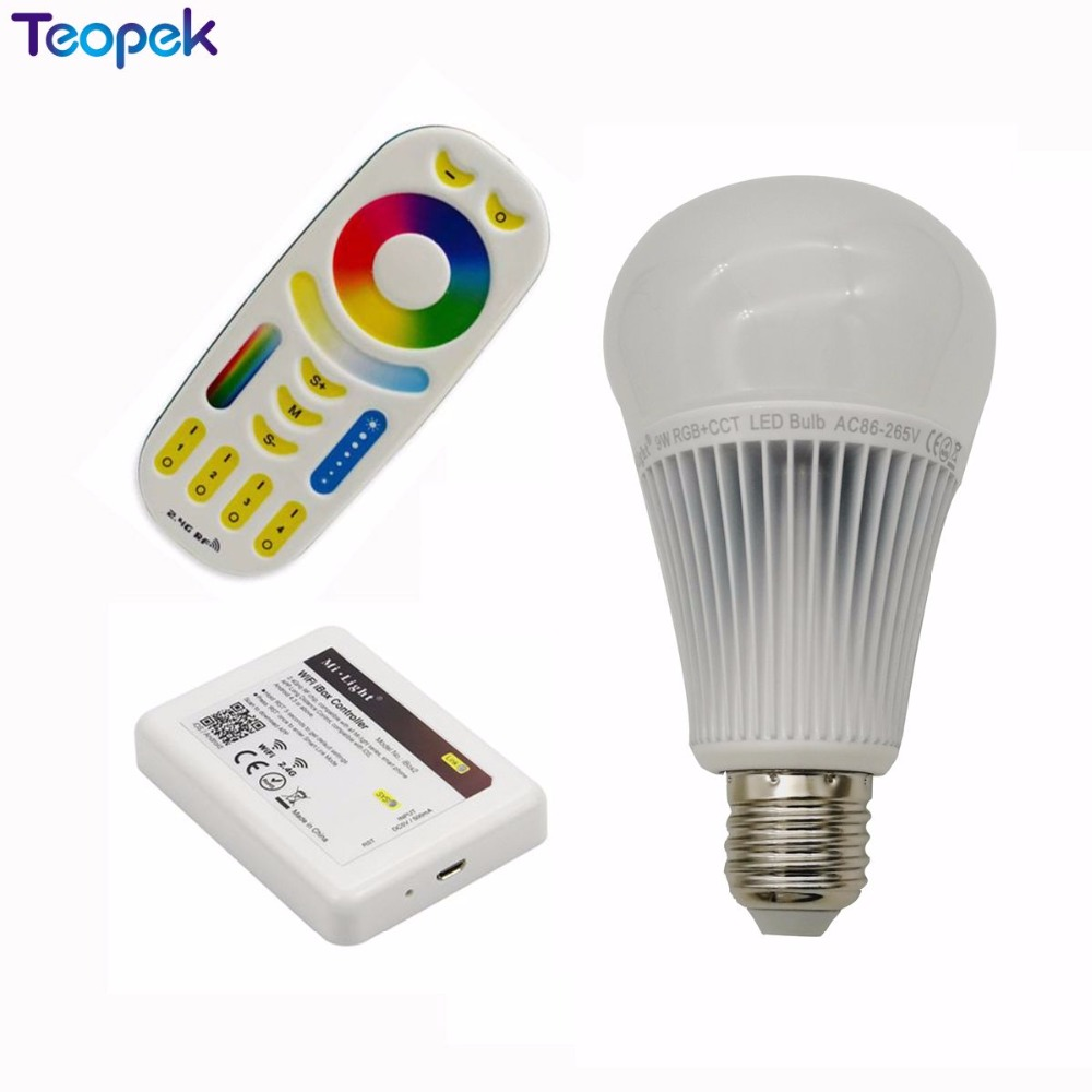 Mi.Light E27 9W RGB+CCT 2 in 1 Smart LED Bulb <font><b>FUT012</b></font> 2.4G Wireless AC85-265V +4-Zone 2.4G RF Controller +WL-Box1 wifi image