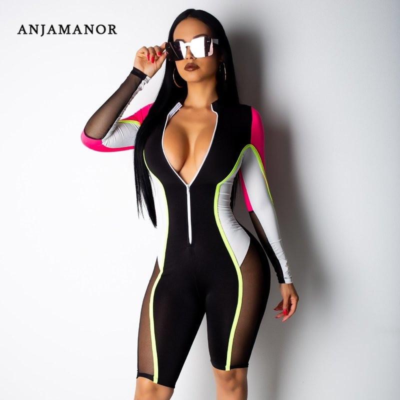 ANJAMANOR Neon Color Block Sexy Party Short Romper Women Zipper Mesh Spliced Playsuit Streetwear Bodycon   Jumpsuit   D30-AD08