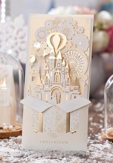 3D castello Amore biglietti d'invito di nozze, Su Misura di lusso matrimonio anniversario inviti di carta, 100 PCS, trasporto ESPRESSO-in Biglietti e inviti da Casa e giardino su  Gruppo 1