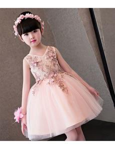 Image 5 - Flower Girl Dresses Glizt Pink Lace Appliques Girls Wedding Gown Trailing Princess Dresses Kids Costume Children Summer Clothes