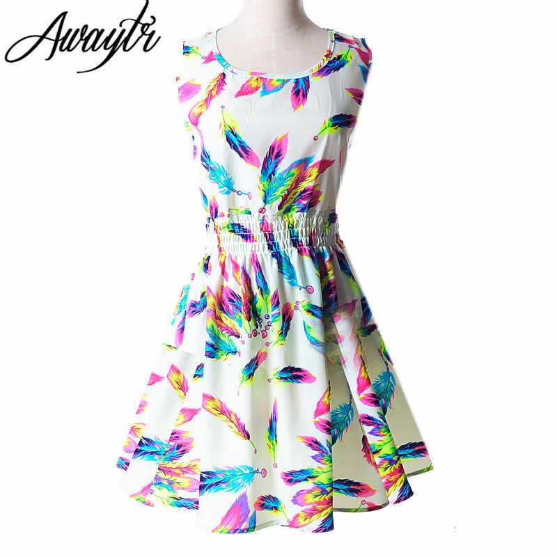 dfe6bedf6e34 19 Colors 2019 New Summer Women Dress Casual Sleeveless Chiffon Feather Floral  Print Dress Vestidos Femininos