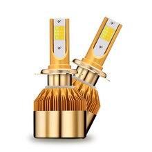 C6 LED Automotive Farol Duplo faixa de temperatura de cor Ouro farol de Nevoeiro luz 9006 H1 H3 H4 H7 H11 H9 9012 H4 6000 K 4800LM