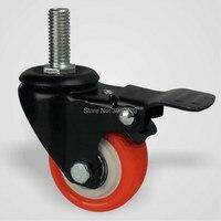 4PCS Universal Thread Stem Orange Plastic Furniture Caster Wheel With Brake