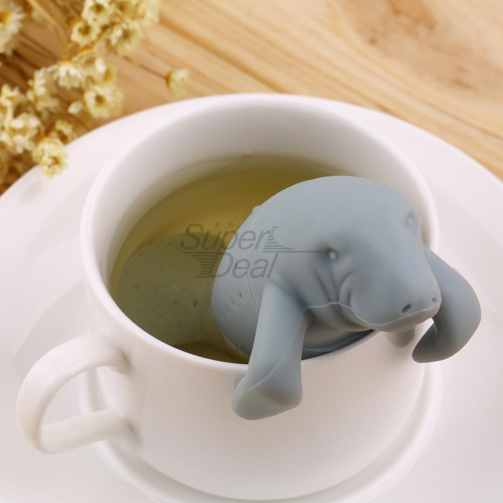 PREUP Manatee Shape Tea Infuser Pure Soft Silicone Rubber Loose Tea Leaf Strainer Herbal Spice Filter Diffuser Kitchen Gadget