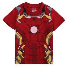 2016 Boy's clothing Set fashion cartoon Iron Man Children summer suit 100%cotton baby set cartoon t-shirts+shorts