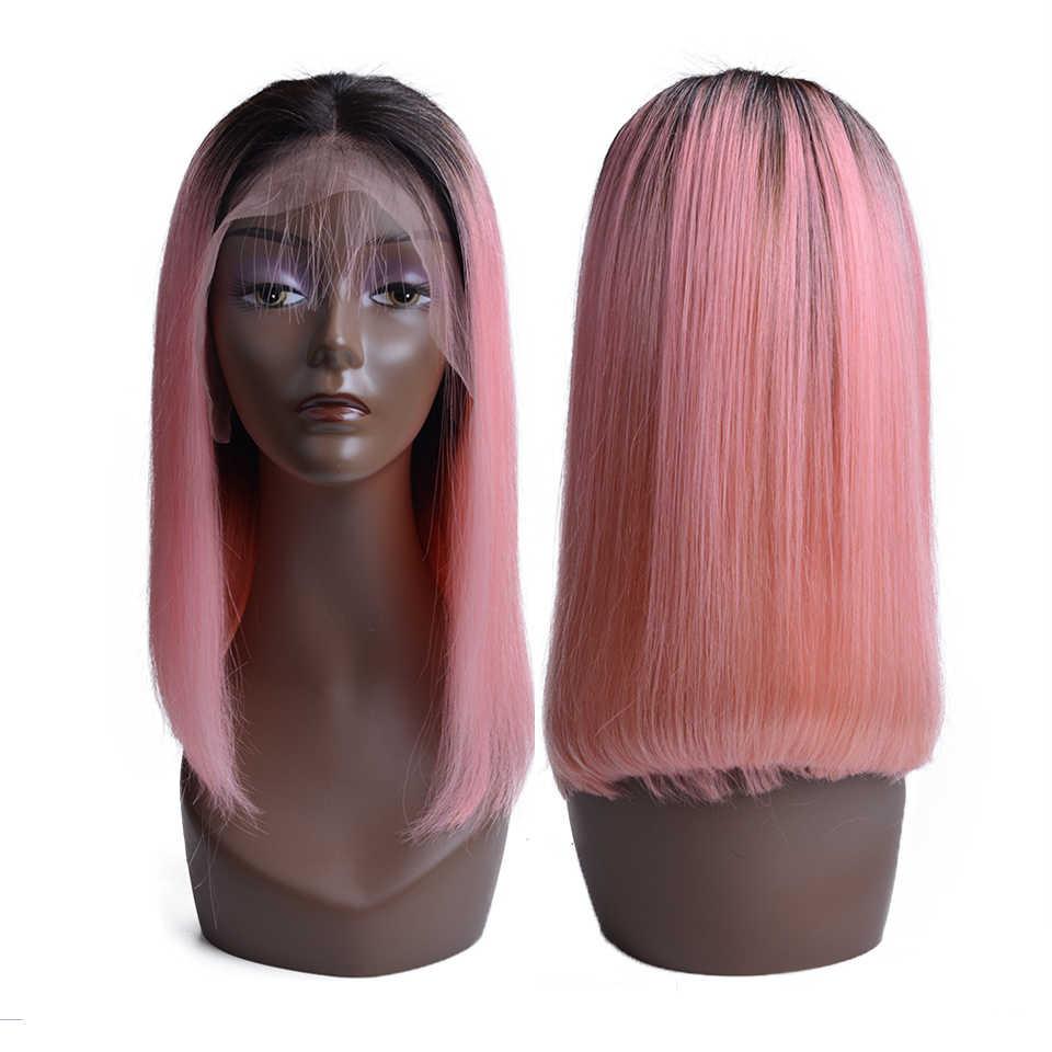 Короткие розовый парик Боб натуральных волос перуанский человеческих волос блондинка Синтетические волосы на кружеве человеческих волос парики для черный Для женщин