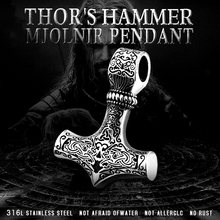 Beier 316L stainless steel Norse Viking Pendant Necklace Thor's Hammer Mjolnir Scandinavian rune odin amulet men jewelry LP384 beier 316l stainless steel fashion style men and women retro odin jewelry viking female amulet vintage norse rune words rings