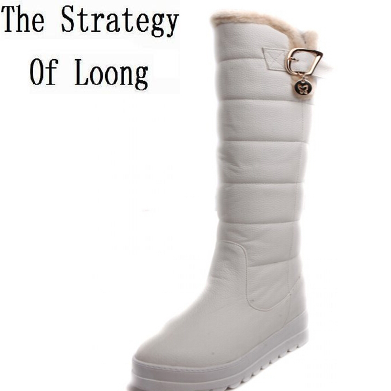 Women Winter Wedges Chunky Heel Round Toe Buckle Fashion Warm Knee High Boots Three Colors Size
