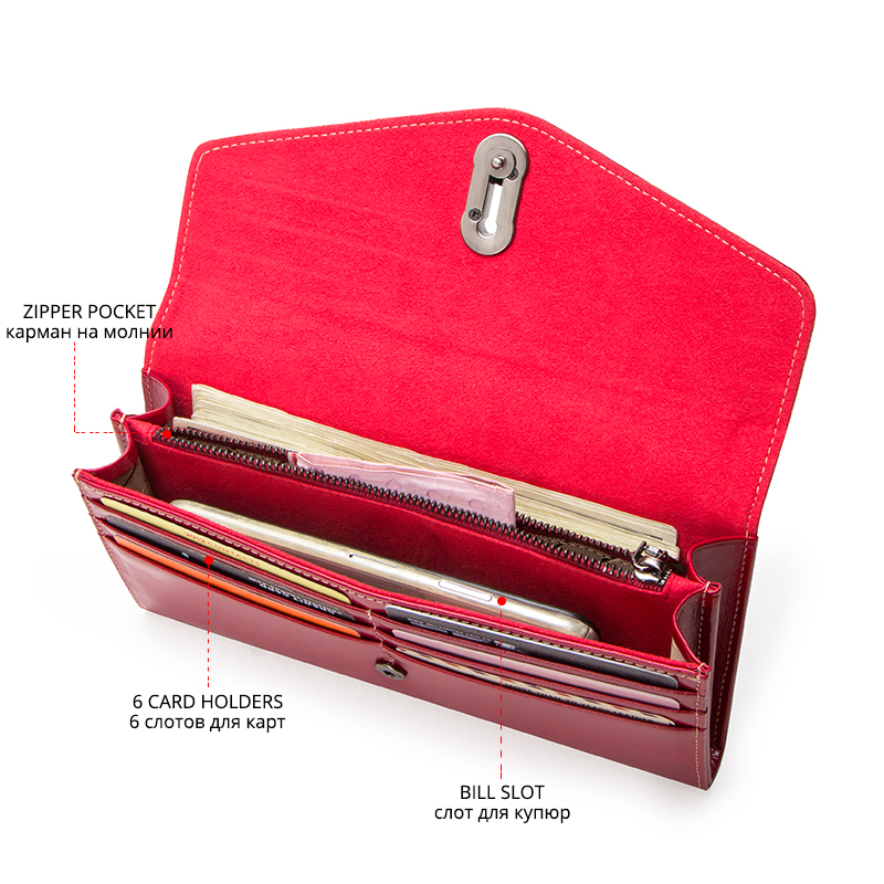 Image 3 - Contactss New Genuine Leather Clutch Wallet for Women Female Card Holders Coin Purse Zipper Money Bag Long Wallets CarteraWallets   -