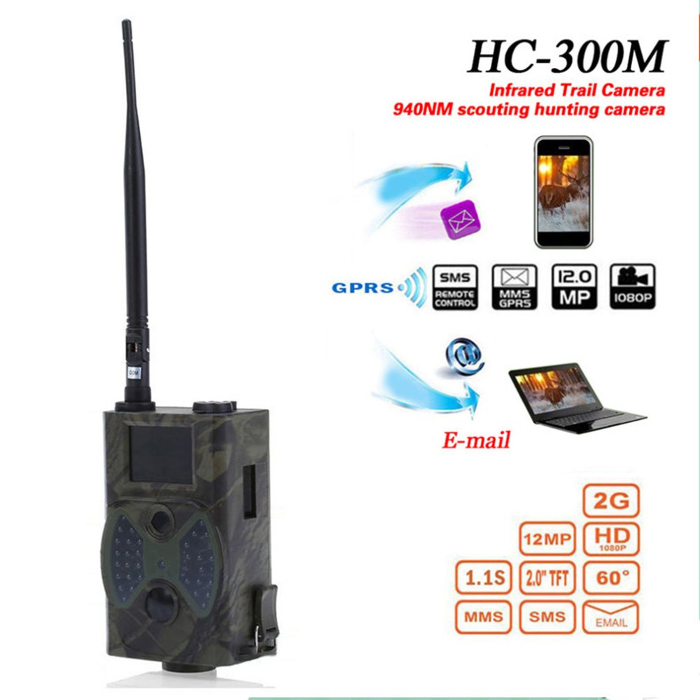 HC300M Hunting Camera GSM 12MP 1080P Photo Traps Night Vision Wildlife infrared Hunting Trail Cameras hunt Chasse scout hc300m hunting camera gms 12mp 1080p photo traps night vision wildlife infrared hunting trail cameras hunt chasse scout