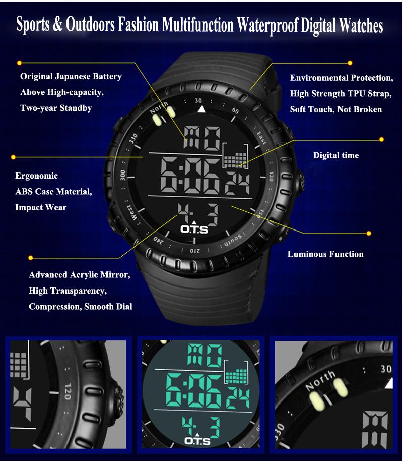 OTS Men s Watch LED Sports Digital Watch Clock 50M Waterproof Men Top Brand  Luxury Hour Military Wristwatches Relogio Masculino-in Digital Watches from  ... be5fe39f357