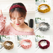 LNRRABC Hot girl hair band Korean version 5 color womens stretch headband knitted bow woven cross knot candy headdress